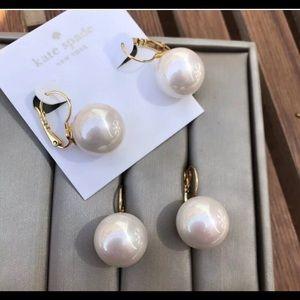 Kate Spade ♠️ Large Faux Pearl Lever Back Earrings
